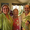 Buddy Goldfarb with his mother and sister