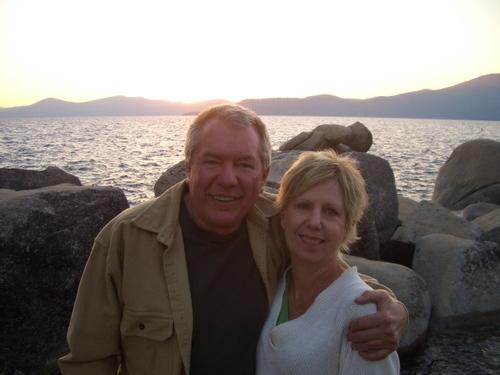 David and Ann at sunset on Lake Tahoe